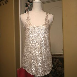 Express white sequins tank